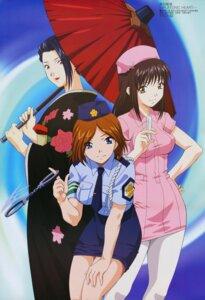 Rating: Safe Score: 11 Tags: daimonji_emi daimonji_saki daimonji_yuu kimono miyata_naomi nurse pantyhose police_uniform zettai_shougeki_platonic_heart User: Elow69
