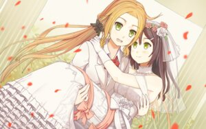 Rating: Safe Score: 21 Tags: dress inubouzaki_fuu miyoshi_karin piza_rokumai wallpaper wedding_dress yuri yuuki_yuuna_wa_yuusha_de_aru User: Mr_GT