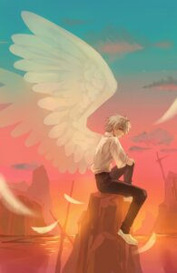 Rating: Safe Score: 6 Tags: kosaka male nagisa_kaworu neon_genesis_evangelion seifuku wings User: charunetra