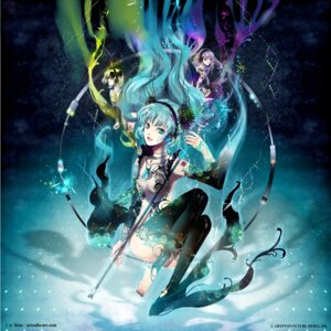 Rating: Questionable Score: 25 Tags: hatsune_miku headphones kagamine_rin megurine_luka thighhighs vocaloid yuu User: Nekotsúh