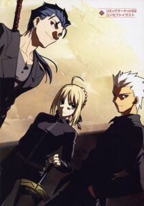 Rating: Safe Score: 9 Tags: archer fate/stay_night lancer saber takeuchi_takashi type-moon User: vita