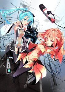 Rating: Safe Score: 50 Tags: cleavage crossover firecel guilty_crown hatsune_miku miku_append thighhighs vocaloid vocaloid_append yuzuriha_inori User: eridani