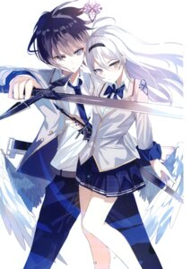 Rating: Safe Score: 15 Tags: greennight seifuku sword wings User: kiyoe