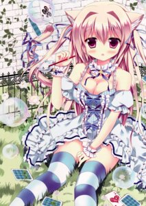 Rating: Questionable Score: 76 Tags: animal_ears azumi_kazuki cleavage dress nekomimi tail thighhighs User: back07