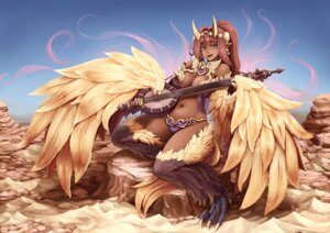 Rating: Questionable Score: 30 Tags: barbariank bikini_armor cleavage monster_girl pointy_ears wings User: Mr_GT