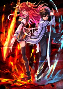 Rating: Safe Score: 44 Tags: kurogane_ikki rakudai_kishi_no_cavalry seifuku stella_vermillion sword swordsouls thighhighs User: Mr_GT