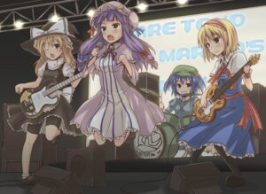 Rating: Safe Score: 13 Tags: alice_margatroid bike_shorts guitar kawashiro_nitori kirisame_marisa patchouli_knowledge rock_heart touhou User: Radioactive