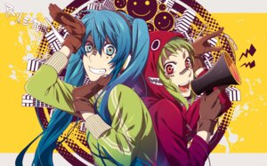 Rating: Safe Score: 19 Tags: gumi hatsune_miku headphones matryoshka_(vocaloid) sena_(mineruba) vocaloid User: Amperrior