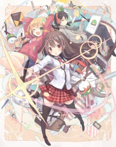 Rating: Safe Score: 40 Tags: chibi headphones heels nanashina seifuku thighhighs User: KazukiNanako