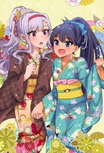 Rating: Safe Score: 23 Tags: ganaha_hibiki kimono shijou_takane the_idolm@ster usameruti User: Mr_GT