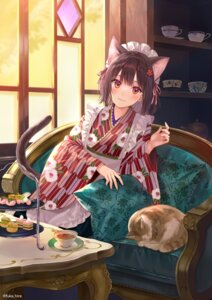 Rating: Safe Score: 30 Tags: animal_ears fukahire_sanba maid neko nekomimi tail wa_maid User: hiroimo2