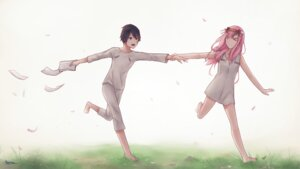 Rating: Safe Score: 8 Tags: darling_in_the_franxx dress hiro_(darling_in_the_franxx) horns sasplayer zero_two_(darling_in_the_franxx) User: mira-pyon