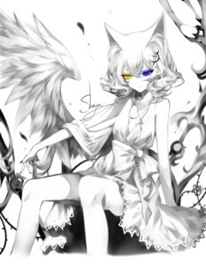 Rating: Safe Score: 28 Tags: animal_ears cleavage dress heterochromia no_bra sheya wings User: Mr_GT