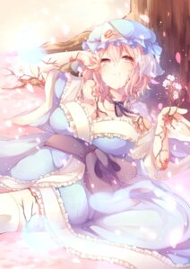 Rating: Safe Score: 41 Tags: blood cleavage kaenuco saigyouji_yuyuko thighhighs touhou User: Mr_GT