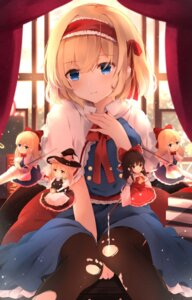 Rating: Safe Score: 61 Tags: alice_margatroid chibi hakurei_reimu hunya kirisame_marisa pantyhose shanghai_doll torn_clothes touhou weapon witch User: RyuZU