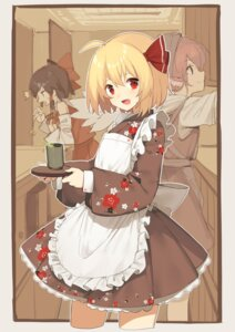 Rating: Safe Score: 22 Tags: animal_ears hakurei_reimu maid mystia_lorelei rumia sh touhou wa_maid waitress wings User: Mr_GT