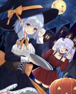 Rating: Safe Score: 18 Tags: dress eyepatch halloween horns izayoi_sakuya kure:kuroha remilia_scarlet skirt_lift thighhighs touhou wings witch User: Mr_GT