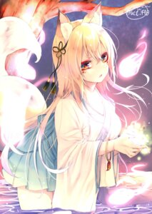 Rating: Safe Score: 34 Tags: animal_ears chita_(ketchup) japanese_clothes kitsune signed tail wet User: RyuZU