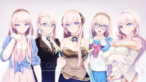 Rating: Safe Score: 48 Tags: cleavage dress megane megurine_luka okingjo seifuku vocaloid User: Mr_GT