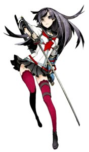 Rating: Questionable Score: 54 Tags: 7th_dragon 7th_dragon_2020 armor miwa_shirow samurai_(7th_dragon) seifuku sword thighhighs User: 麻里子