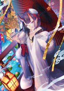 Rating: Safe Score: 15 Tags: fate/grand_order horns japanese_clothes megane pointy_ears shuten_douji_(fate/grand_order) umbrella yui_(kawalcjil4) User: BattlequeenYume