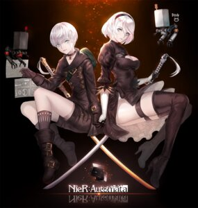 Rating: Safe Score: 20 Tags: cleavage dress heels leotard nier_automata pass35 signed sword thighhighs yorha_no.2_type_b yorha_no._9_type_s User: mash