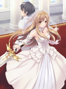 Rating: Safe Score: 52 Tags: asuna_(sword_art_online) dress furumiya_haiji kirito sword sword_art_online wedding_dress User: dyj
