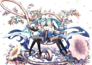 Rating: Safe Score: 41 Tags: hatsune_miku headphones heels maou_(mischief2004) tattoo thighhighs vocaloid User: Mr_GT