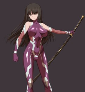 Rating: Questionable Score: 18 Tags: a1 bodysuit erect_nipples girls_und_panzer initial-g nishizumi_shiho sword taimanin_asagi User: NotRadioactiveHonest