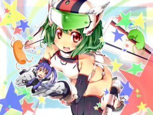 Rating: Safe Score: 25 Tags: bodysuit chibi ichi_makoto macross macross_frontier mecha_musume oosanshouuo-san ranka_lee saotome_alto thighhighs User: Radioactive
