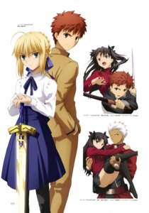 Rating: Safe Score: 20 Tags: archer emiya_shirou fate/stay_night fate/stay_night_unlimited_blade_works nopan pantyhose saber seifuku sword tagme tattoo thighhighs toosaka_rin User: drop