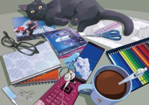 Rating: Safe Score: 31 Tags: guitar_(artist) hatsune_miku megane neko vocaloid User: hobbito
