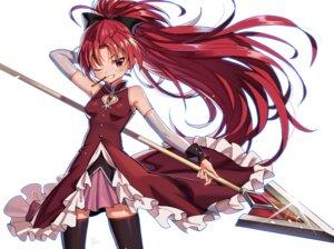Rating: Safe Score: 9 Tags: anzumame puella_magi_madoka_magica sakura_kyouko skirt_lift thighhighs weapon User: Dreista