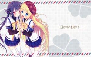 Rating: Safe Score: 7 Tags: alcot clover_day's seifuku takakura_anri takakura_anzu thighhighs wallpaper User: Fworks