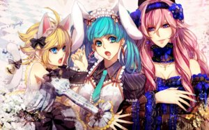 Rating: Safe Score: 15 Tags: animal_ears bunny_ears hatsune_miku kagamine_rin megurine_luka nekomimi vocaloid yutif User: charunetra