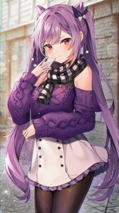 Rating: Safe Score: 39 Tags: genshin_impact keqing_(genshin_impact) pantyhose reel_(riru) skirt_lift sweater User: hiroimo2