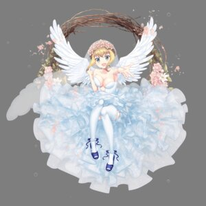 Rating: Questionable Score: 17 Tags: dress heels hoshi_no_girls_odyssey no_bra stockings thighhighs transparent_png wedding_dress wings User: Radioactive