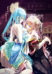 Rating: Safe Score: 80 Tags: hatsune_miku japanese_clothes megurine_luka okingjo open_shirt vocaloid yuri User: Mr_GT