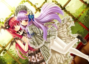 Rating: Safe Score: 53 Tags: dress jpeg_artifacts kino koakuma lolita_fashion macchatei_koeda pantyhose patchouli_knowledge symmetrical_docking touhou User: blooregardo