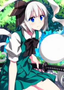 Rating: Safe Score: 9 Tags: konpaku_youmu myon sazanami_mio skirt_lift sword touhou User: Mr_GT