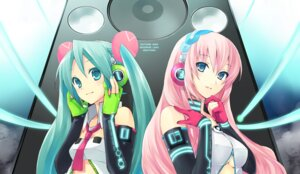 Rating: Safe Score: 27 Tags: cleavage hatsune_miku headphones hijiki megurine_luka vocaloid User: charunetra