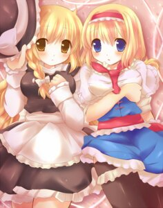 Rating: Safe Score: 13 Tags: alice_margatroid hanica_miracle kirisame_marisa thighhighs touhou User: hobbito