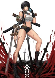 Rating: Questionable Score: 69 Tags: ake_(cherrylich) blood heels mecha_musume no_bra sword User: Radioactive