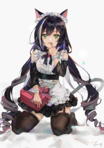 Rating: Questionable Score: 28 Tags: animal_ears fang_qiao karyl_(princess_connect) maid nekomimi princess_connect princess_connect!_re:dive see_through stockings tail thighhighs valentine User: yanis