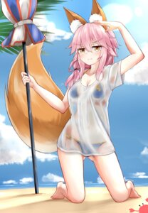 Rating: Questionable Score: 49 Tags: animal_ears bikini caster_(fate/extra) cleavage fate/extra fate/stay_night kitsune moyoron see_through swimsuits tail wet_clothes User: Mr_GT