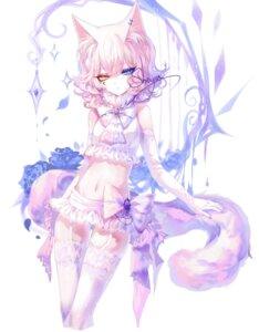 Rating: Safe Score: 3 Tags: animal_ears heterochromia nekomimi sheya stockings tail thighhighs User: Mr_GT