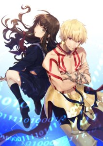 Rating: Safe Score: 18 Tags: armor fate/extra fate/extra_ccc fate/stay_night gilgamesh_(fsn) hino_hinako kishinami_hakuno seifuku tattoo User: nphuongsun93