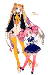 Rating: Safe Score: 21 Tags: chibiusa cleavage dress heels pigeon_(666pigeon) sailor_moon thighhighs tsukino_usagi User: charunetra