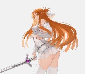 Rating: Questionable Score: 30 Tags: armor ass asuna_(sword_art_online) egk513 nopan see_through skirt_lift sword sword_art_online thighhighs User: Mr_GT