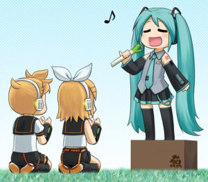 Rating: Safe Score: 10 Tags: hatsune_miku kagamine_len kagamine_rin nagian thighhighs vocaloid User: blooregardo